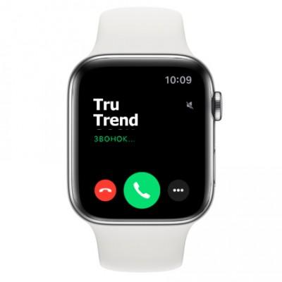 Apple Watch Series 5 GPS + Cellular, 44mm, корпус из стали , белый спортивный ремешок