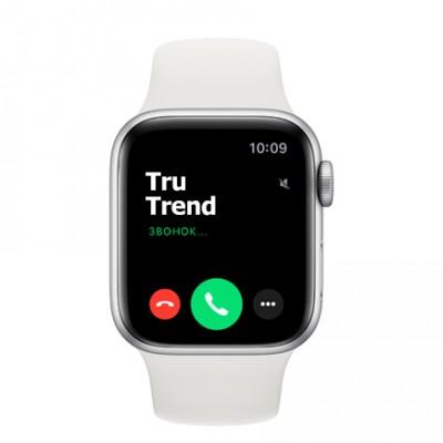 Apple Watch Series 6 GPS, 40mm, корпус из алюминия серебристого цвета, белый спортивный ремешок