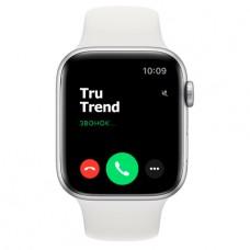 Apple Watch Series 6 GPS, 44mm, корпус из алюминия серебристого цвета, белый спортивный ремешок