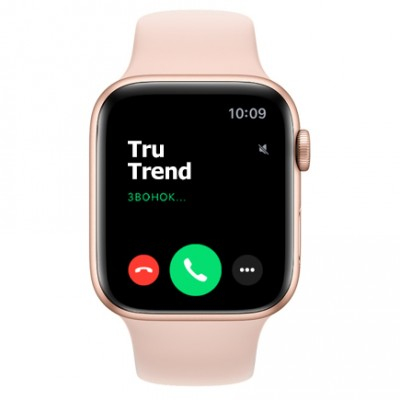 Apple Watch Series 6 GPS, 44mm, корпус из алюминия золотого цвета, спортивный ремешок цвета «розовый песок»