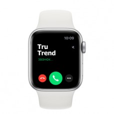 Apple Watch SE GPS, 40mm, корпус из алюминия серебристого цвета, белый спортивный ремешок
