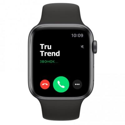 Apple Watch SE GPS, 44mm,  корпус из алюминия цвета «серый космос», чёрный спортивный ремешок