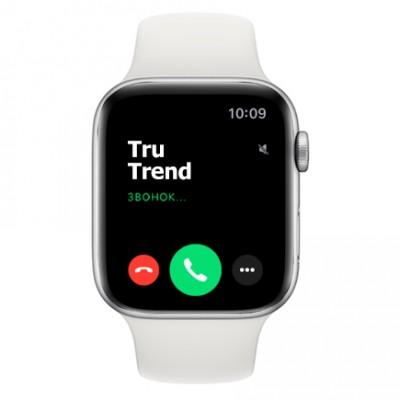 Apple Watch Series 4 GPS + Cellular, 44mm, корпус из алюминия серебристого цвета, спортивный ремешок белого цвета