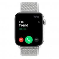 Apple Watch Series 4 GPS + Cellular, 44mm, корпус из алюминия серебристого цвета, спортивный браслет (Sport Loop) цвета «белая ракушка»