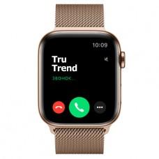 Apple Watch Series 5 GPS + Cellular, 44mm, корпус из стали золотого цвета, золотой миланский сетчатый браслет