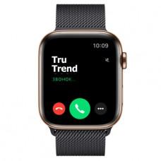 Apple Watch Series 5 GPS + Cellular, 44mm, корпус из стали золотого цвета, миланский сетчатый браслет цвета «черный космос»