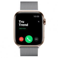 Apple Watch Series 5 GPS + Cellular, 44mm, корпус из стали золотого цвета, серебристый миланский сетчатый браслет