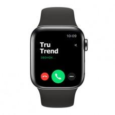 Apple Watch Series 5 GPS + Cellular, 40mm, корпус из стали цвета «черный космос», чёрный спортивный ремешок