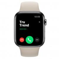 Apple Watch Series 5 GPS + Cellular, 44mm, корпус из стали цвета «черный космос», бежевый спортивный ремешок
