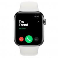 Apple Watch Series 5 GPS + Cellular, 44mm, корпус из стали цвета «черный космос», белый спортивный ремешок