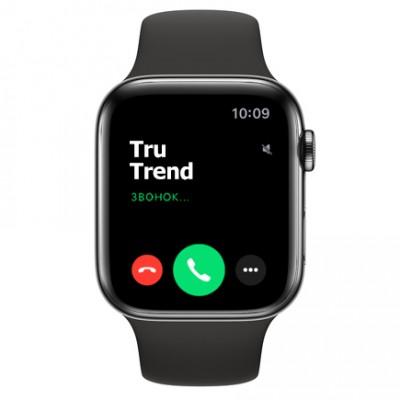 Apple Watch Series 5 GPS + Cellular, 44mm, корпус из стали цвета «черный космос», чёрный спортивный ремешок