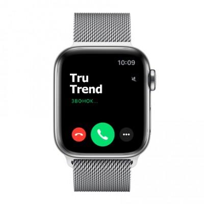 Apple Watch Series 5 GPS + Cellular, 40mm, корпус из стали, серебристый миланский сетчатый браслет