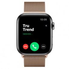 Apple Watch Series 5 GPS + Cellular, 44mm, корпус из стали цвета «черный космос», золотой миланский сетчатый браслет