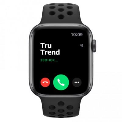 Apple Watch Series 5 Nike+ GPS, 44mm, корпус из алюминия цвета «серый космос», спортивный ремешок цвета «антрацитовый/чёрный»