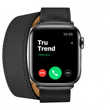 Apple Watch Series 5 GPS + Cellular, 40mm, корпус из стали цвета «черный космос», ремешок Hermès Double Tour из кожи Swift цвета Noir
