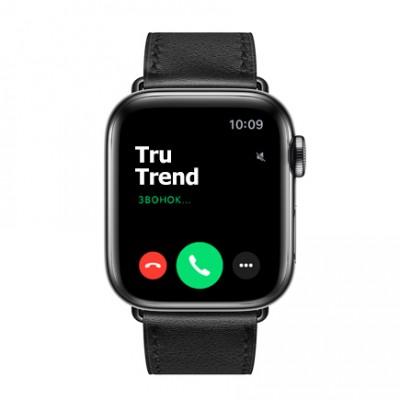 Apple Watch Series 5 GPS + Cellular, 40mm, корпус из стали цвета «черный космос», ремешок Hermès Single Tour из кожи Swift цвета Noir