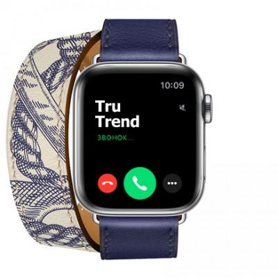 Apple Watch Series 5 GPS + Cellular, 40mm, корпус из стали, ремешок Hermès Double Tour из кожи Swift цвета Encre/Béton