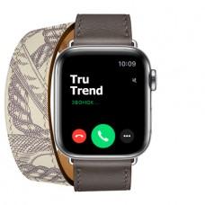 Apple Watch Series 5 GPS + Cellular, 40mm, корпус из стали, ремешок Hermès Double Tour из кожи Swift цвета Étain/Béton