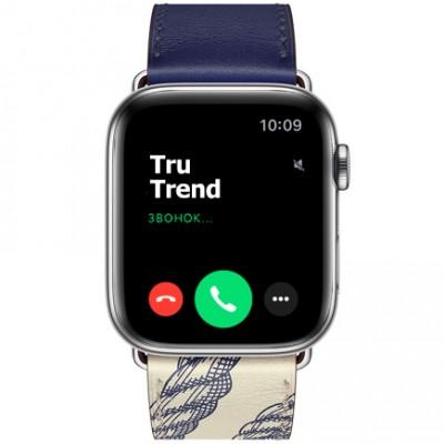 Apple Watch Series 5 GPS + Cellular, 44mm, корпус из стали, ремешок Hermès Single Tour из кожи Swift цвета Encre/Béton