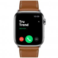 Apple Watch Series 5 GPS + Cellular, 44mm, корпус из стали, ремешок Hermès Single Tour из кожи Swift цвета Fauve